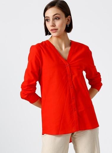 Limon Company V Yaka Gömlek Kırmızı